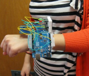 photo of digital friendship bracelet prototype on a wrist.