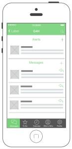 Wireframe of message screen.